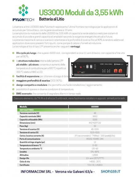 Batt Litio 3,5 kWh Pylontech US3000